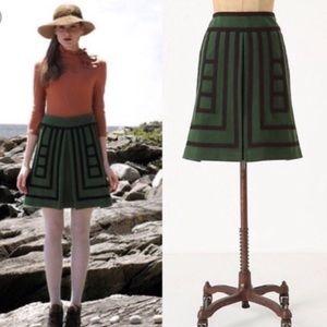 "Anthropologie Maeve ""Art Deco"" wool skirt 💚🖤"